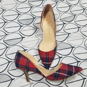 Sole Society Red & Blue Plaid D'Orsay Pumps